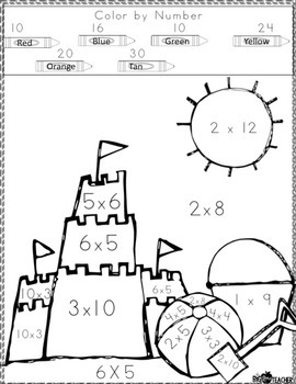 12 Times Table Flash Cards Printable Sketch Coloring Page