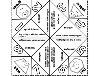 Freebie! Polygon Cootie Catcher-10 or Fewer Sides by