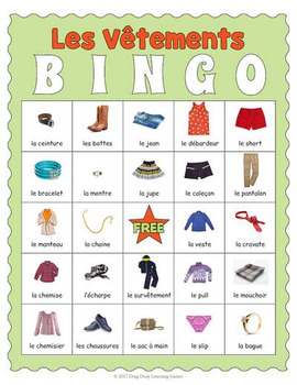 French Clothing Bingo Les Vtements By Drag Drop