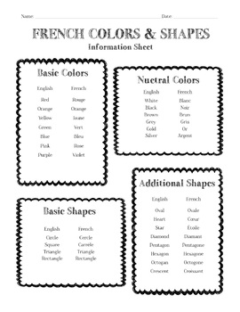 French Colors & Shapes Information Sheet, Worksheet And