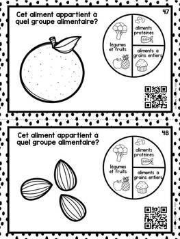 French Food Groups QR Codes / Alimentation- Cartes à tâche