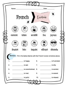 French Human Emotions Worksheet Packet by Sunny Side Up