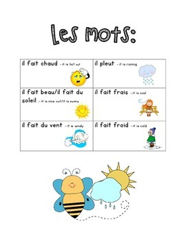 Il Fait Beau Il Fait Chaud : chaud, French, Immersion, Weekly, Words, Homework,, Work,, Practice, Weather