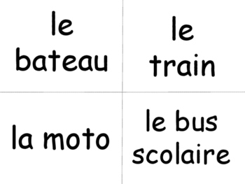 French Le Transport Word Wall