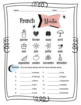 French Months Of The Year Worksheet Packet by Sunny Side