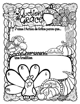 French Poster ~ l'Action de Grâce by Peg Swift French