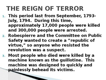 French Revolution: Reign of Terror Power Point by Jason