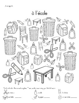 French School Supplies/Classroom Objects Activities