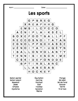 French Sports Word Search P... by Monsieur Jeff's Class