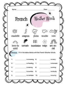 French Weather Words Worksheet Packet by Sunny Side Up