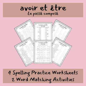 Le passé composé avoir et être core French conjugation spelling practice match