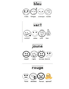 French Zones of Regulation Bookmark by en francais au