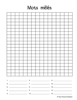 mots mêlés : French blank word search by Your French
