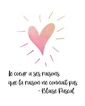 Le Coeur A Ses Raisons Que La Raison Ne Connait Pas : coeur, raisons, raison, connait, French, Quote, Poster, Blaise, Pascal, Frenchified