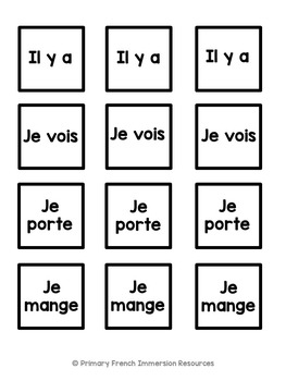 French sentence building cards by Primary French Immersion