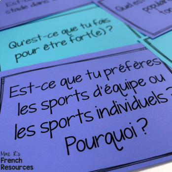 French sports speaking activity CONVERSATION CARDS by Mme