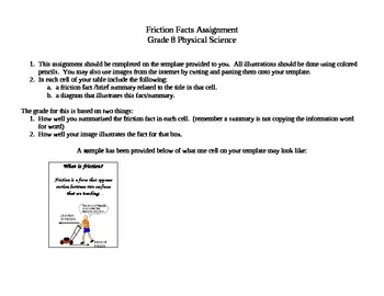 Friction Facts Worksheet Activity Middle School Science By
