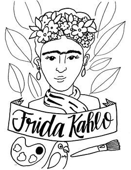 Frida Kahlo Art History Printable Coloring Sheet/Coloring