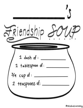 Friendship Soup Worksheet by Ashlynn's Elementary