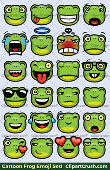 frog emoji clipart faces