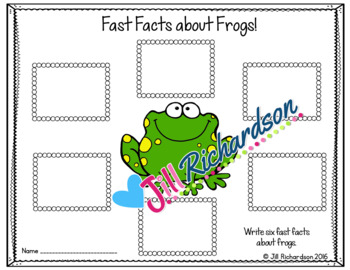 Frogs Writing Flap Books and Fast Facts Graphic Organizers