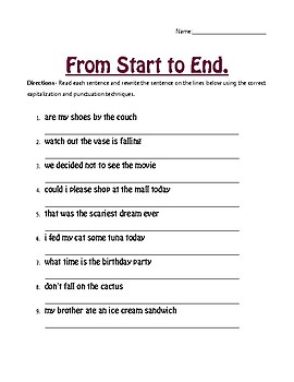 From Start To End Capitalization And Punctuation Worksheet