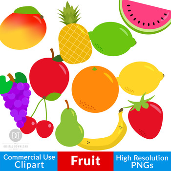 Fruit Clipart Fruit Graphics Healthy Foods Clipart Pineapple Apple Lemon