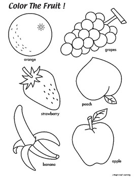 Coloring Pictures Of Fruits : coloring, pictures, fruits, Fruit, Coloring, Worksheet, Maple, Learning