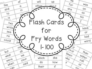 Fry Sight Word Flash Cards Freebie 1-100 by Classroom