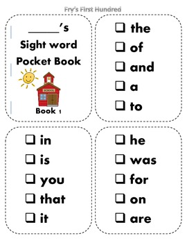 Fry's Sight Word Pocket / Sticker Books { First 500 Words