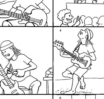 Fun ESL EFL lesson comic, English, jazz, music, guitars