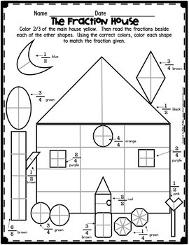 Fractions Worksheet: Fraction House by Elementary Lesson