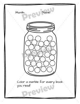 Fun Monthly Reading Logs for First Grade: Color-in book