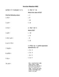 Function Notation Notes and Worksheet by camfan54 | TpT