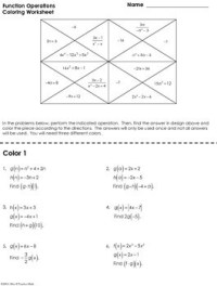 Function Operations Coloring Worksheet by Mrs E Teaches ...