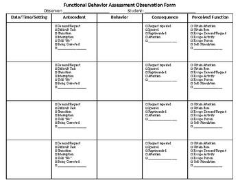 Functional Behavior Assessment Observation Form Teaching Resources ...