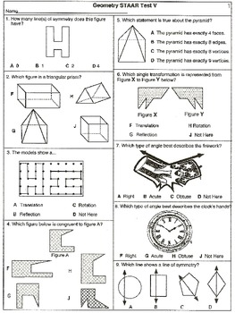 Grade 4 Geometry Category 3 Assessments: 12-STAAR Tests