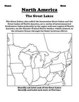 Printable Map Of Great Lakes : printable, great, lakes, Great, Lakes, Worksheets, Teaching, Resources
