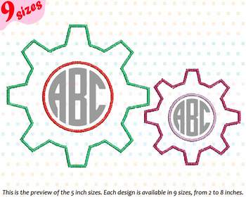 gear cogwheel embroidery design