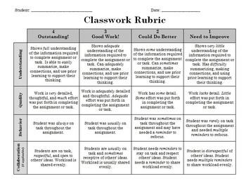 General Classwork Rubric By Ashley Cox Teachers Pay Teachers