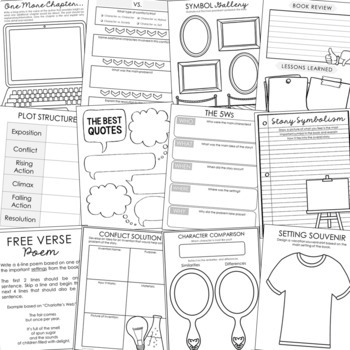 EDITABLE Novel Unit Study Activities for Any Book