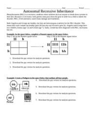 Genetics: Autosomal recessive inheritance worksheet by ...