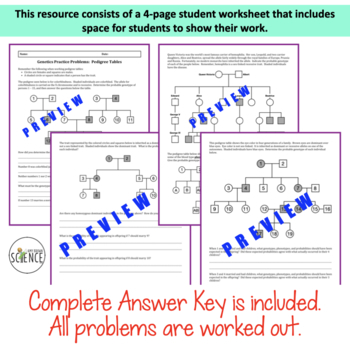 Genetics Practice Problems Pedigree Tables By Amy Brown