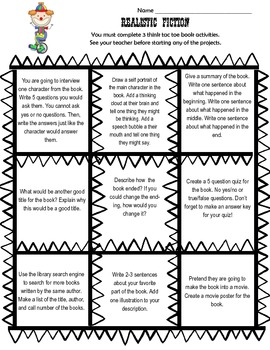 Genre Tic Tac Toe Choice Board Differentiated Book
