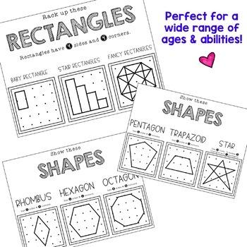 Geoboard Task Cards and Recording Sheets . Shapes . Math