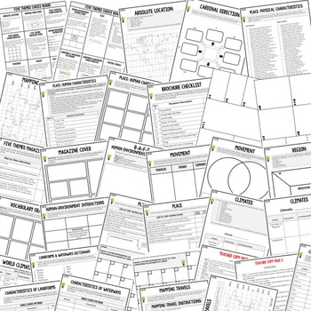 Geography Five Themes Activities, Choice Board, Print