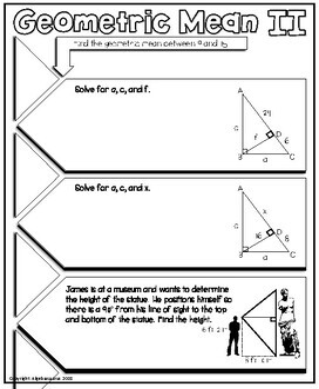 Geometric Mean & Triangle Altitudes Doodle Graphic