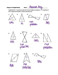 Geometry: Congruent Triangles Practice Worksheet ANSWER ...