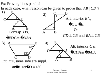 Geometry Lesson 20 Proving Lines Parallel By Justin