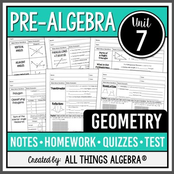 Geometry PreAlgebra Curriculum  Unit 7 by All Things